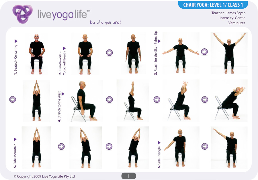 Chair Yoga Poses http://www.liveyogalife.com/products/yoga-with-a-chair-complete-set-classes-1-to-7/