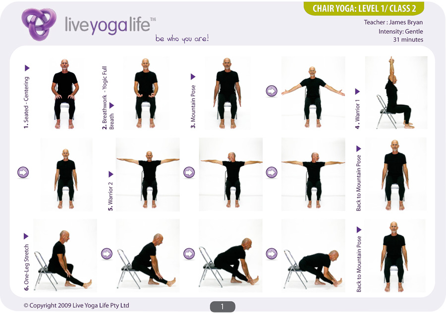 Yoga with a Chair Complete Set (Classes 1 to 7) ...  sc 1 st  Live Yoga Life : printable chair yoga routines - Cheerinfomania.Com