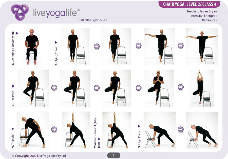 Chair Yoga Poses http://www.liveyogalife.com/products/yoga-with-a-chair-level-2-class-4/