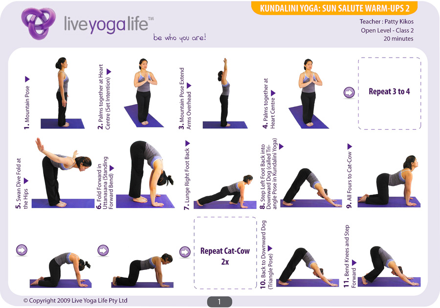 Sun Salutations Warm Ups Complete Set Classes 1 To 4